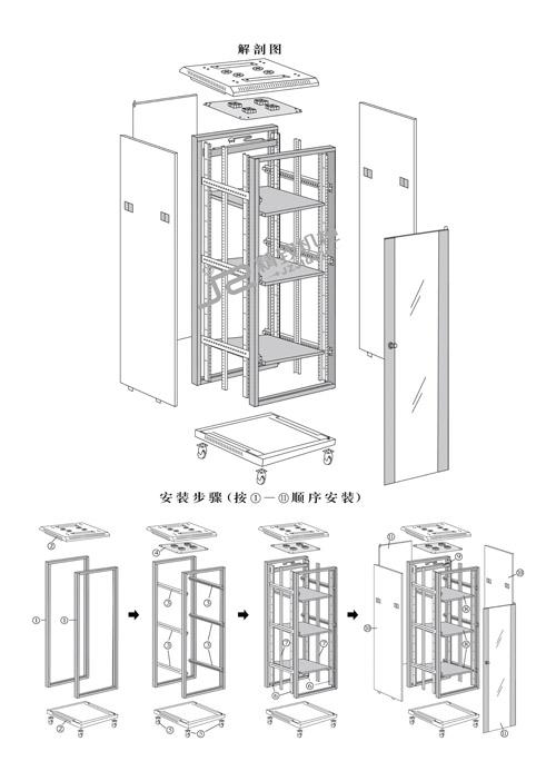 网络机柜及服务器机柜组装结构图